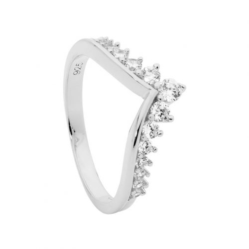 Rhodium Plated Wishbone Silver CZ Ring