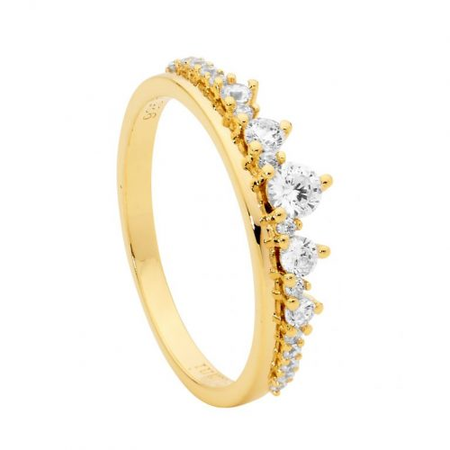 Sterling Silver CZ Graduated Stone Claw Set Ring Yellow Gold