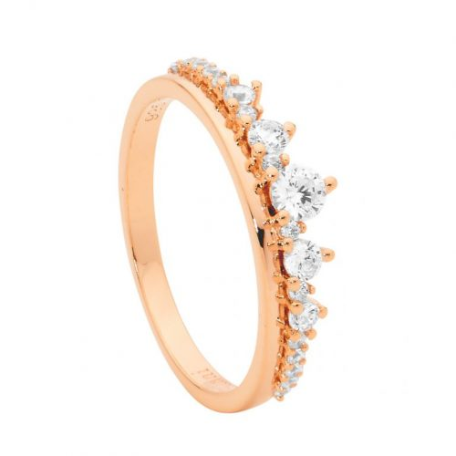 Sterling Silver CZ Graduated Stone Claw Set Ring Rose Gold