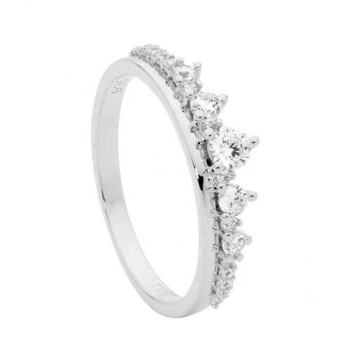 Sterling Silver CZ Graduated Stone Claw Set Ring