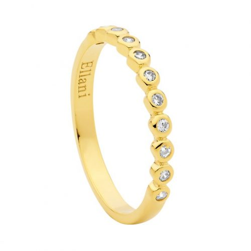 Yellow Gold Plated Sterling Silver CZ Ring