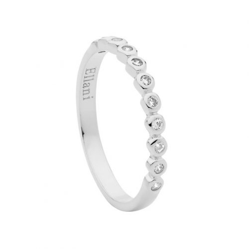 Rhodium Plated Sterling Silver CZ Ring