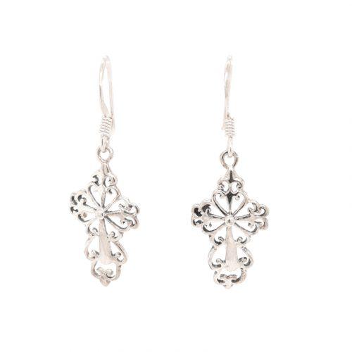 Filigree Lace Cross Silver Earrings