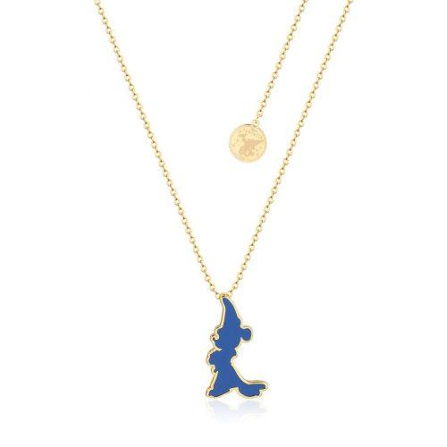 Disney Fantasia Sorcerer's Apprentice Mickey Enamel Silhouette Necklace Yellow Gold