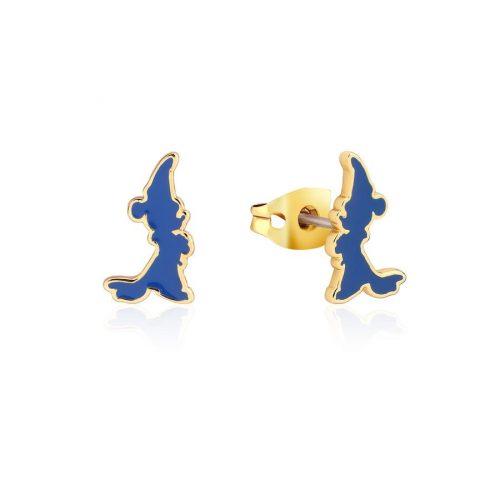 Disney Fantasia Sorcerer's Apprentice Mickey Enamel Silhouette Stud Earrings Yellow