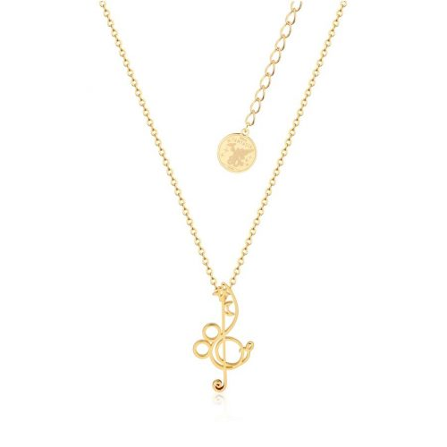 Disney Fantasia Mickey Mouse Treble Clef Necklace Yellow Gold