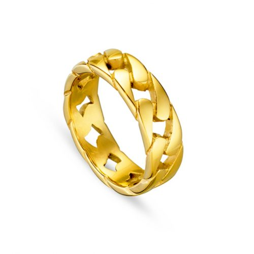 Stainless Steel Cuban Link Ring Yellow Gold