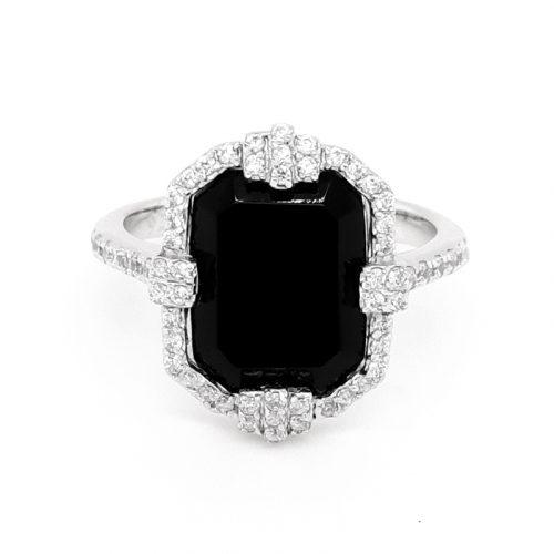 Rhodium Plated Onyx Vintage Ring