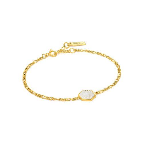 Compass Emblem Gold Figaro Chain Bracelet