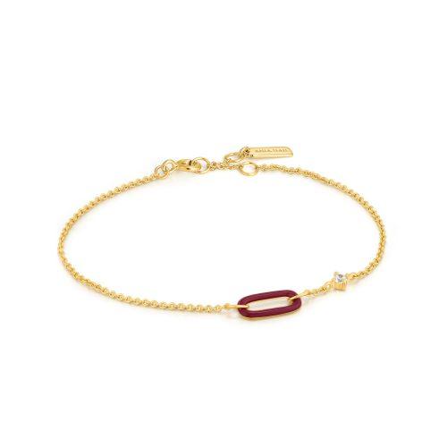 Claret Red Enamel Gold Link Bracelet
