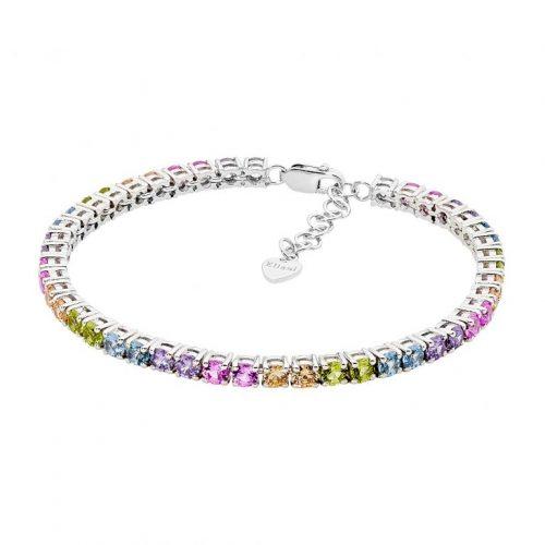 Silver Pastel Spectral Coloured CZ Bracelet