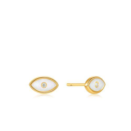 Evil Eye Gold Stud Earrings