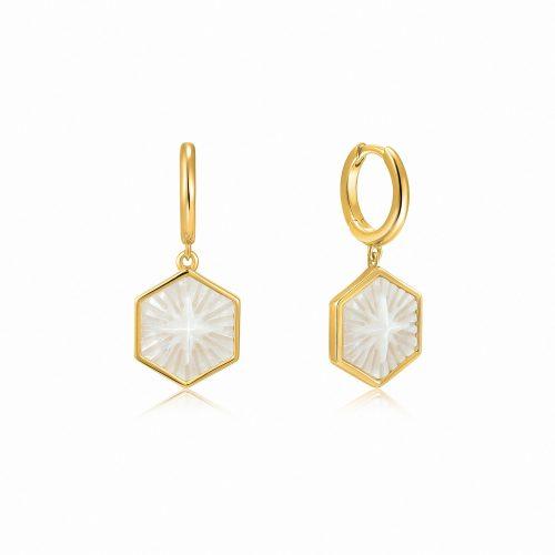 Compass Emblem Gold Huggie Hoop Earrings