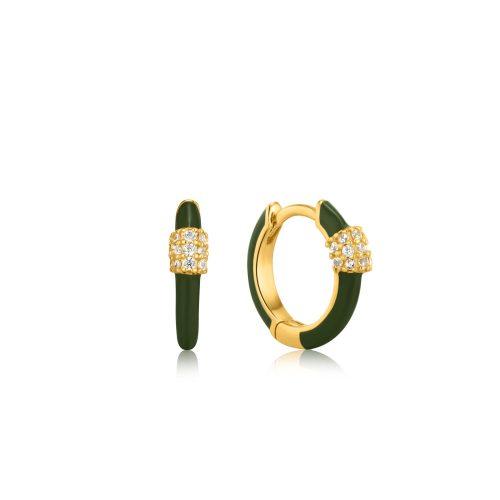 Forest Green Enamel Carabiner Gold Huggie Hoop Earrings