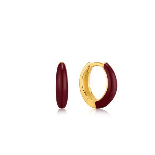 Claret Red Enamel Gold Sleek Huggie Hoop Earrings