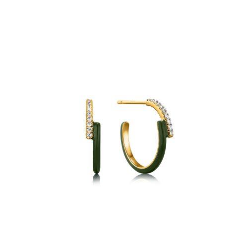 Forest Green Enamel Gold Sparkle Overlap Hoop Earrings