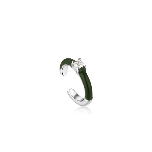 Forest Green Enamel Silver Ear Cuff