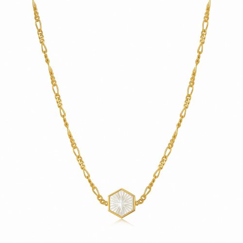 Compass Emblem Gold Figaro Chain Necklace