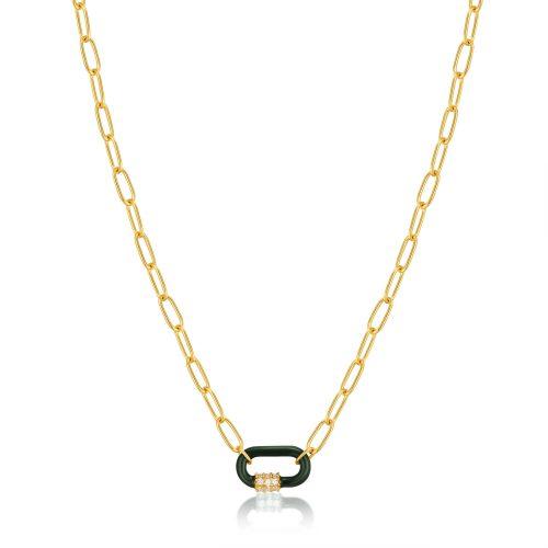Forest Green Enamel Carabiner Gold Necklace