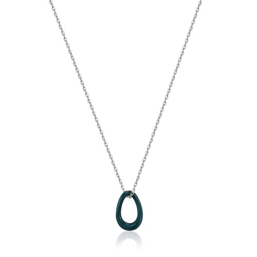 Forest Green Enamel Silver Twisted Pendant Necklace