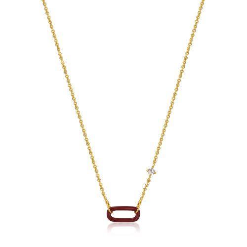 Claret Red Enamel Gold Link Necklace