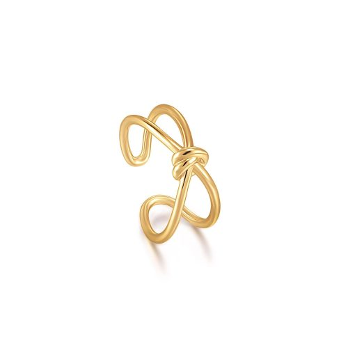 Gold Knot Double Band Adjustable Ring