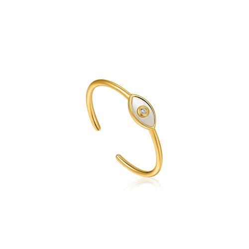 Evil Eye Gold Adjustable Ring