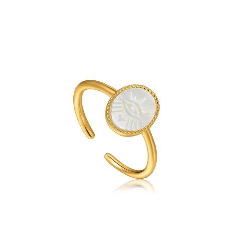 Evil Eye Emblem Gold Adjustable Ring
