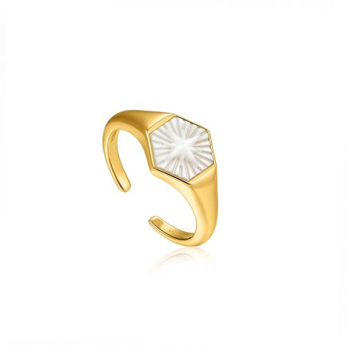 Compass Emblem Gold Adjustable Ring