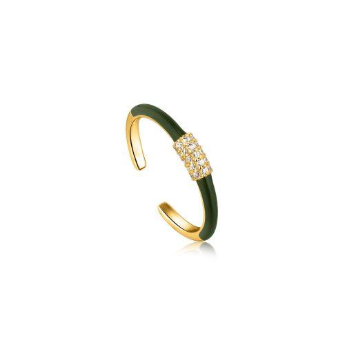 Forest Green Enamel Carabiner Gold Adjustable Ring