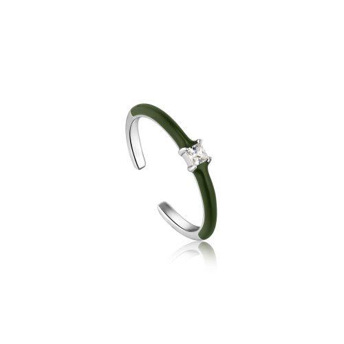 Forest Green Enamel Silver Adjustable Ring