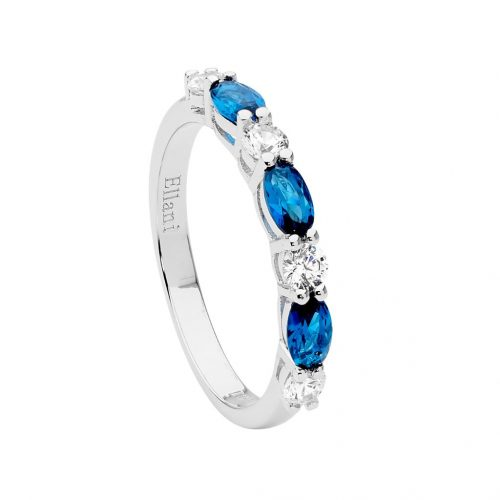 Sterling Silver London Blue and White CZ Ring