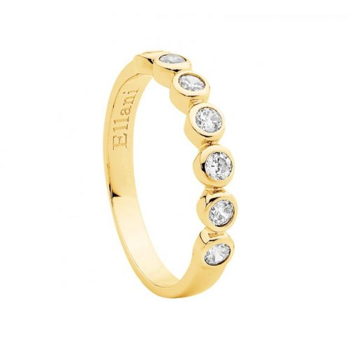 Sterling Silver CZ Bezel Set Ring Yellow Gold