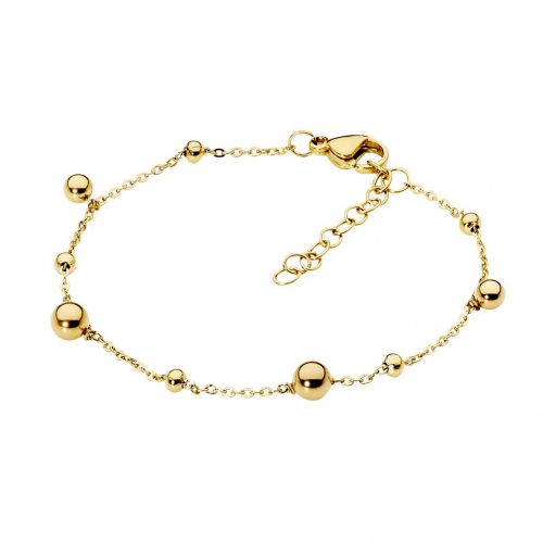Stainless Steel Ball Charm Bracelet Yellow Gold