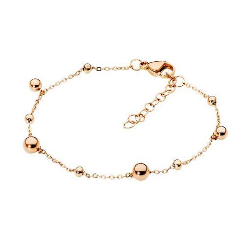 Stainless Steel Ball Charm Bracelet Rose Gold
