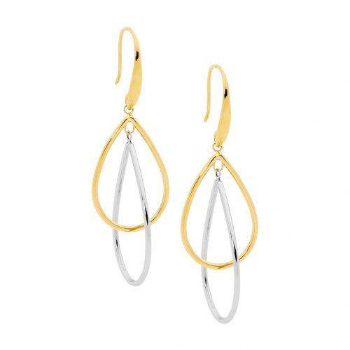 Double Open Tear Drop Earrings Yellow Gold