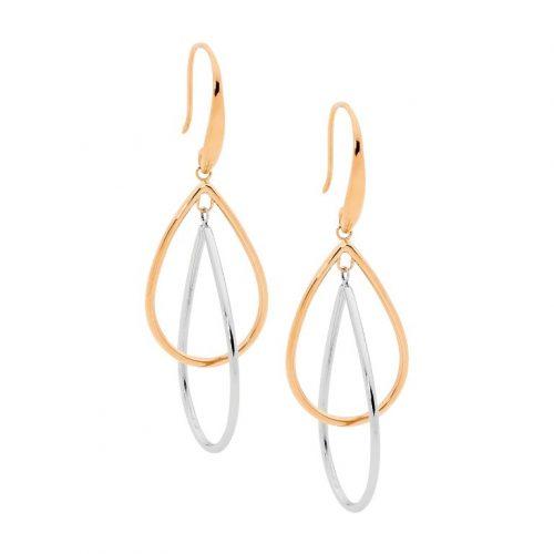 Double Open Tear Drop Earrings Rose Gold