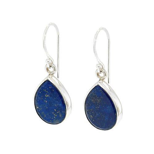 Tear Drop Lapis Lazuli Sterling Silver Earrings