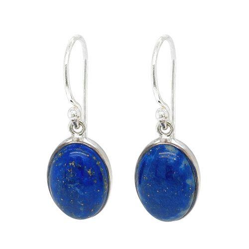 Oval Shape Lapis Lazuli Sterling Silver Earrings
