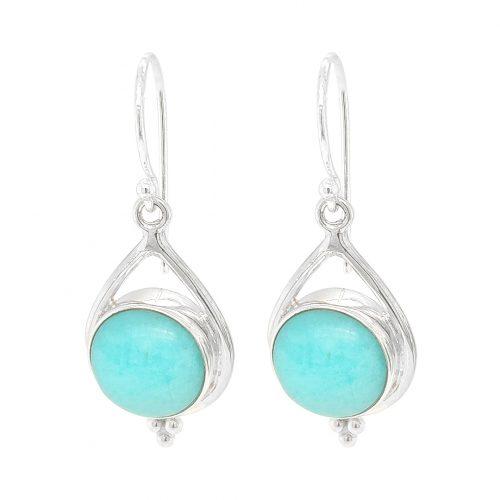 Amazonite Boho Style Sterling Silver Earrings