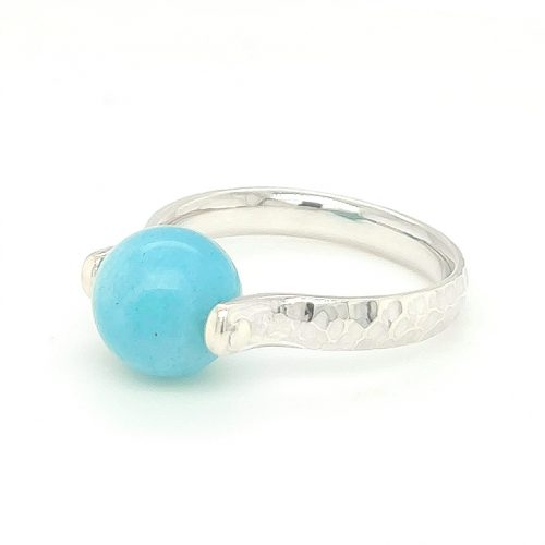 Amazonite Ball Sterling Silver Ring