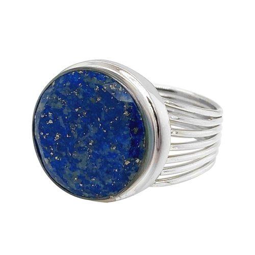 Round Lapis Lazuli Sterling Silver Ring