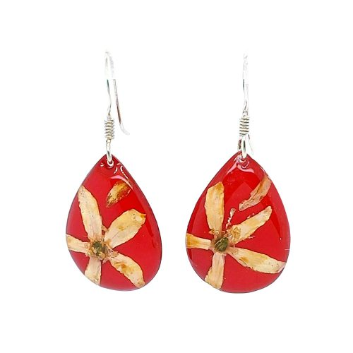 Assorted Earrings Long Leaf Wax Red